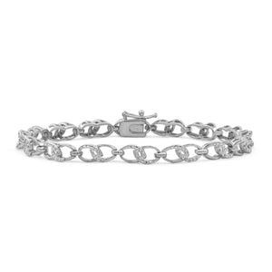 JewelonFire Accent White Diamond Sterling Silver Link Bracelet - Assorted Colors