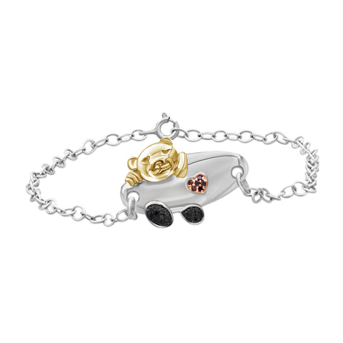 JewelersClub 1/10 Ctw Red & Black Diamond Two-Tone Sterling Silver Panda Bracelet
