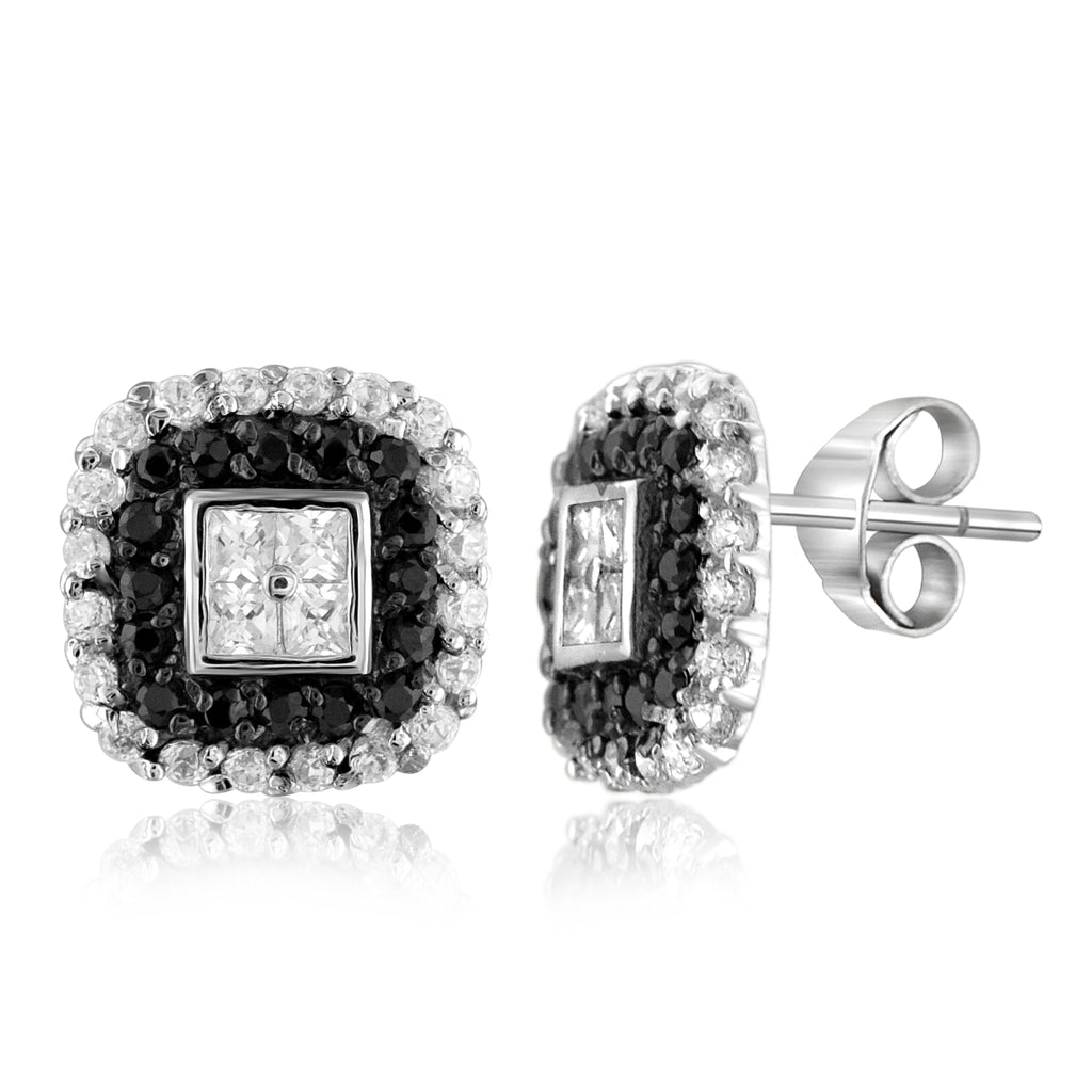 Diamonice Black And White Cubic Zirconia Hip to Be Square Sterling Silver Earrings