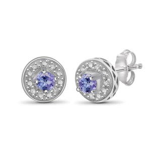 JewelonFire 1/5 Carat T.G.W. Tanzanite and White Diamond Accent Sterling Silver Stud Earrings - Assorted Colors