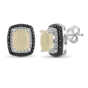 JewelersClub 6.00 Carat T.G.W. Moon and Black and White Diamond Accent Sterling Silver Earrings - Assorted Color