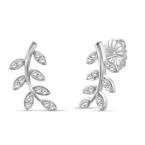 JewelersClub 1/4 Carat T.W. White Diamond Sterling Silver Leaf Earrings - Assorted Colors