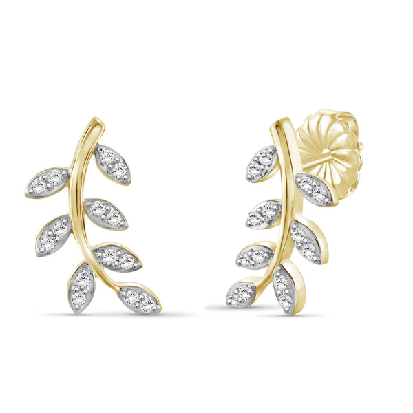 JewelonFire 1/4 Carat T.W. White Diamond Sterling Silver Leaf Earrings - Assorted Colors