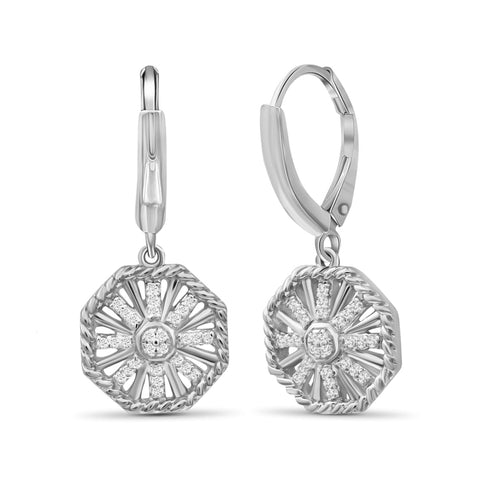 JewelonFire 1/3 Carat T.W. White Diamond Sterling Silver Octagon Earrings - Assorted Colors