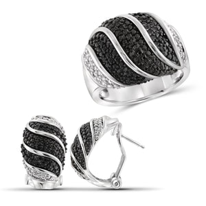 JewelersClub 1.00 Carat T.W. Black And White Diamond Sterling Silver 2 Piece Jewelry Set
