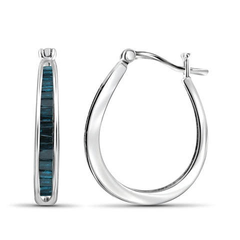 JewelonFire 1.00 Carat T.W. Blue Diamond Sterling Silver Hoop Earrings