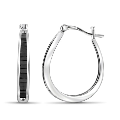 JewelonFire 1.00 Carat T.W. Black Diamond Sterling Silver Hoop Earrings