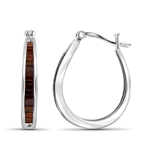 JewelonFire 1.00 Carat T.W. Red Diamond Sterling Silver Hoop Earrings