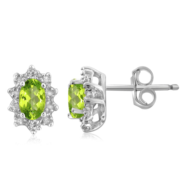 JewelonFire 1/2 Carat T.G.W. Peridot And White Diamond Accent Sterling Silver Stud Earrings - Assorted Colors