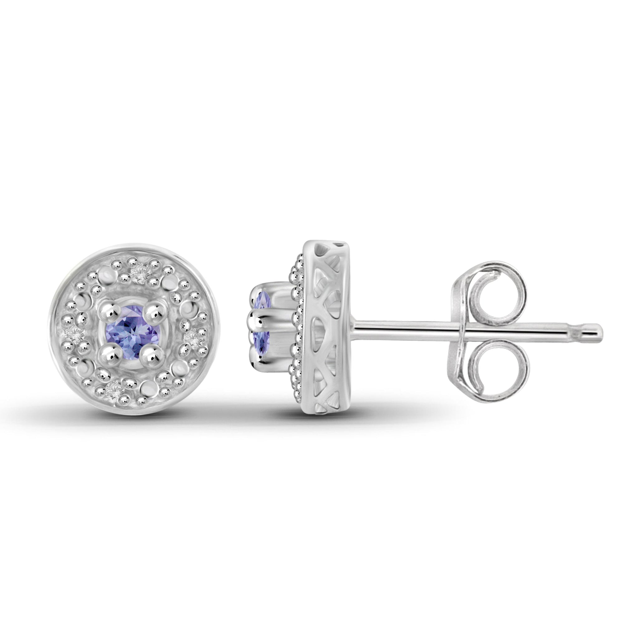 JewelonFire 1/7 Carat T.G.W. Tanzanite and White Diamond Accent Sterling Silver Halo Earrings - Assorted Colors