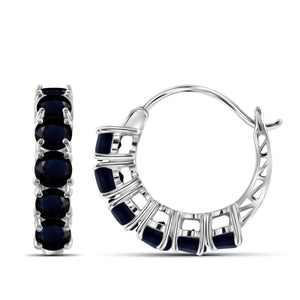 JewelersClub 4 1/2 Carat T.G.W. Sapphire Sterling Silver Hoop Earrings - Assorted Colors