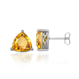 JewelonFire 5 1/2 Carat T.G.W. Citrine and Sterling Silver Stud Earrings