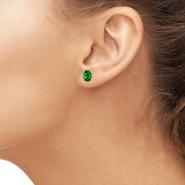 JewelonFire 1.60 Carat T.G.W. Chrome Diopside Sterling Silver Crown Earrings - Assorted Colors