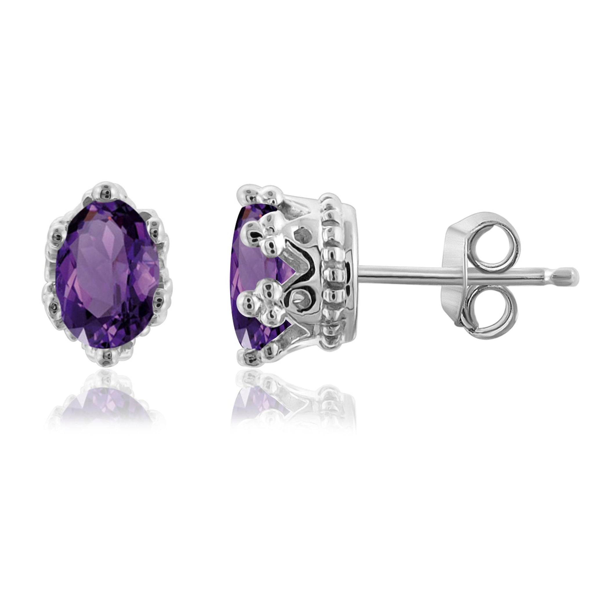 JewelonFire 3/4 Carat T.G.W. Amethyst Sterling Silver Earrings - Assorted Colors