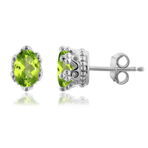 JewelonFire 1.00 Carat T.G.W. Peridot Sterling Silver Crown Earrings - Assorted Colors
