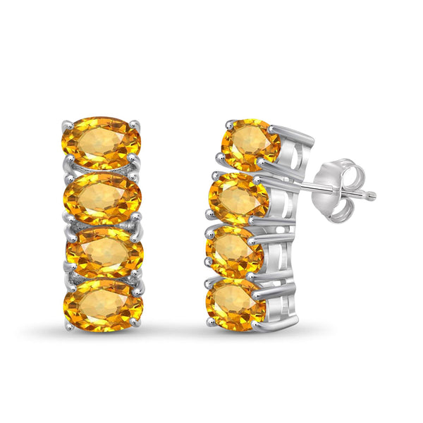 JewelonFire 3 3/4 Carat T.G.W. Citrine Sterling Silver Earrings - Assorted Colors