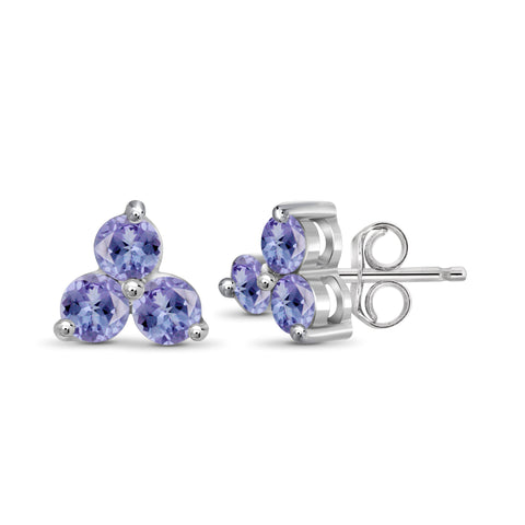 JewelonFire 1/2 Carat T.G.W. Tanzanite Sterling Silver Stud Earrings - Assorted Colors