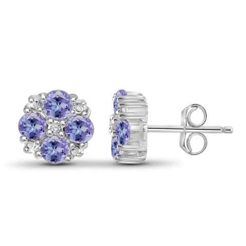 JewelonFire 3/4 Carat T.G.W. Tanzanite and White Diamond Accent Sterling Silver Earrings - Assorted Colors