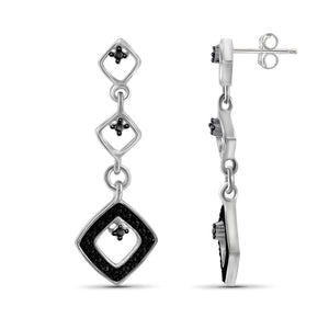 JewelonFire Accent Black Diamond Sterling Silver Earrings