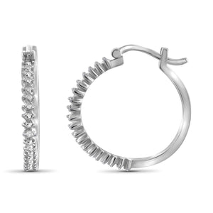 JewelonFire Accent White Diamond Textured Sterling Silver Hoop Earrings