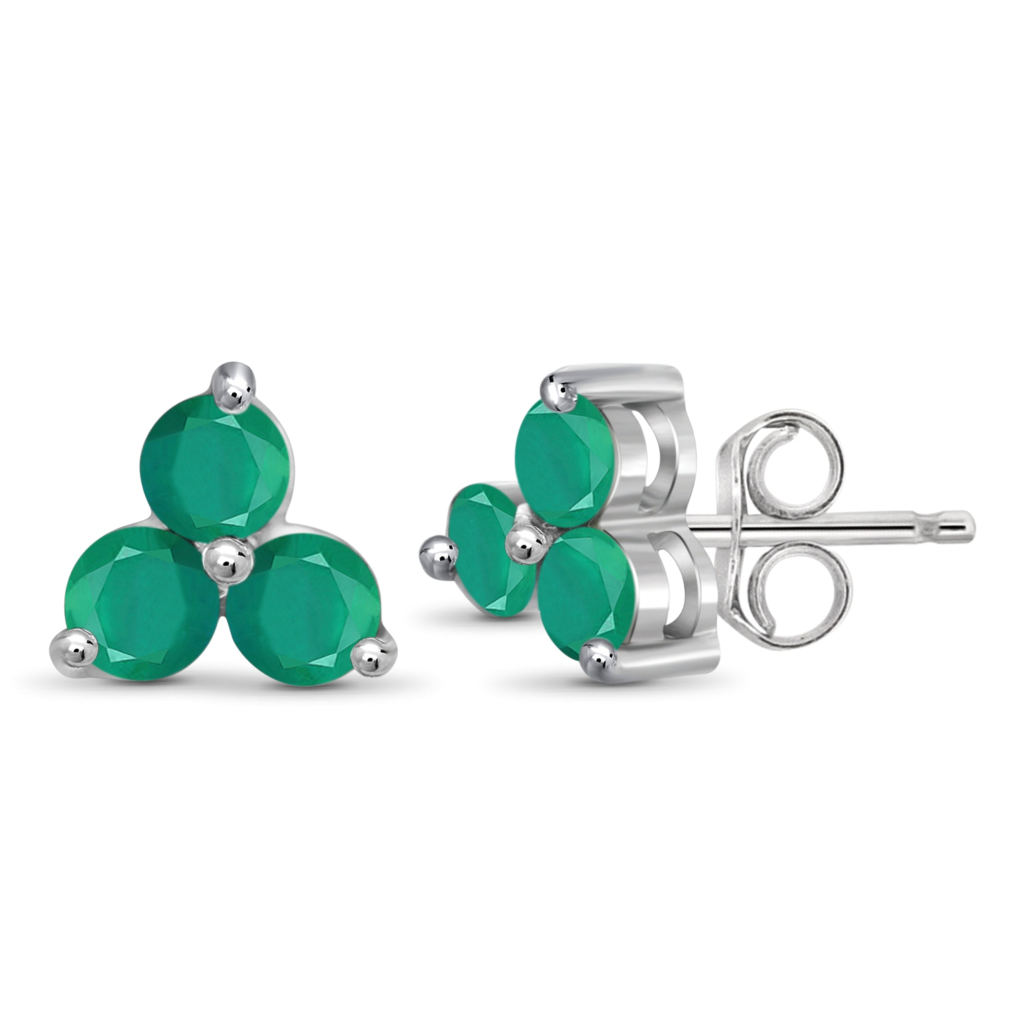 JewelonFire 1 3/4 Carat T.G.W. Emerald Sterling Silver Stud Earrings - Assorted Colors