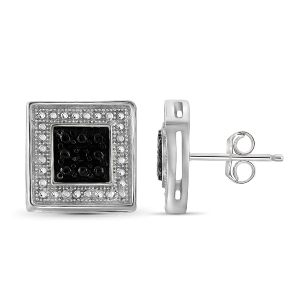 JewelonFire Accent Black Diamond Sterling Silver Square Shape Earrings