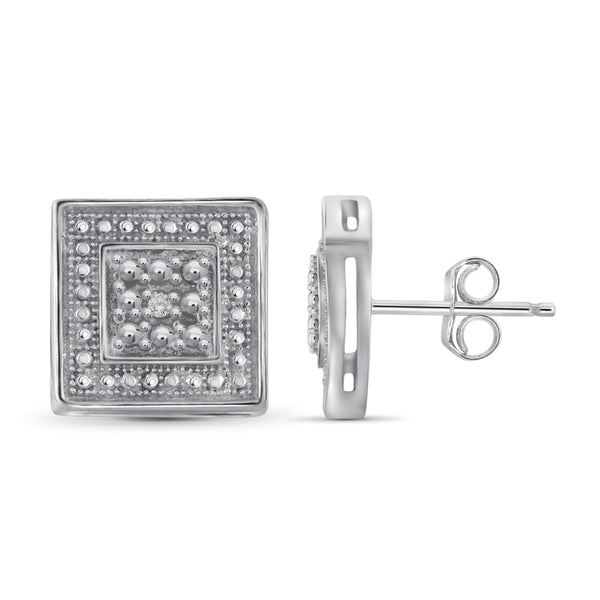 JewelonFire Accent White Diamond Sterling Silver Square Shape Earrings