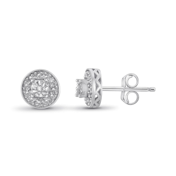 JewelonFire Accent White Diamond Sterling Silver Halo Studs