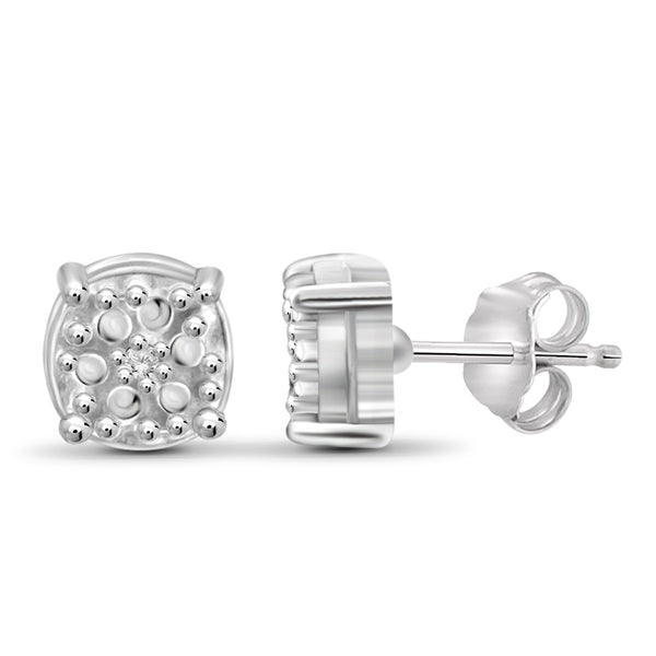JewelonFire Accent White Diamond Textured Sterling Silver Studs