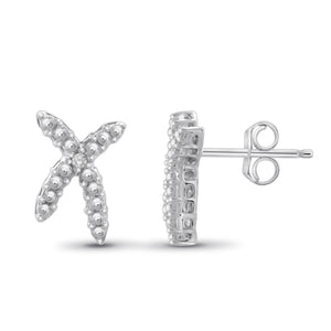 JewelonFire Accent White Diamond Sterling Silver Earrings