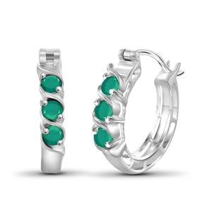 JewelonFire 3/4 Carat T.G.W. Emerald Sterling Silver Hoop Earrings - Assorted Colors
