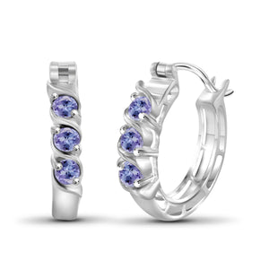 JewelonFire 1/2 Carat T.G.W. Tanzanite Sterling Silver Hoop Earrings - Assorted Colors