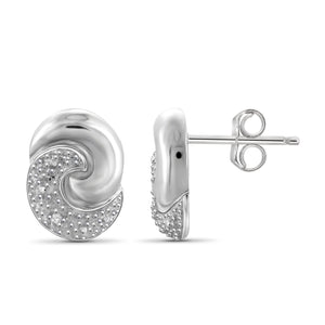 JewelonFire Accent White Diamond Swirl Sterling Silver Earrings