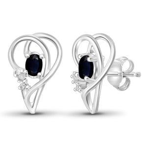 JewelersClub 0.60 Carat T.G.W. Sapphire and White Diamond Accent Sterling Silver Earrings - Assorted Colors
