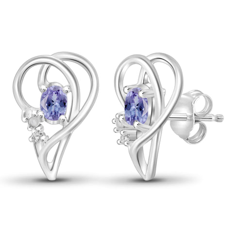 JewelonFire 0.45 Carat T.G.W. Tanzanite and White Diamond Accent Sterling Silver Earrings - Assorted Colors