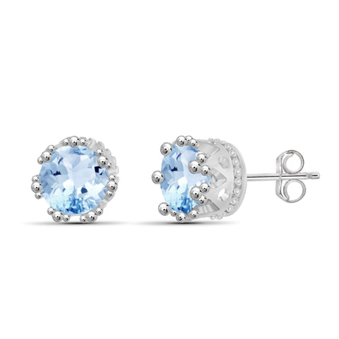 JewelersClub 3 1/5 Carat T.G.W. Sky Blue Topaz Sterling Silver Stud Earrings - Assorted Colors