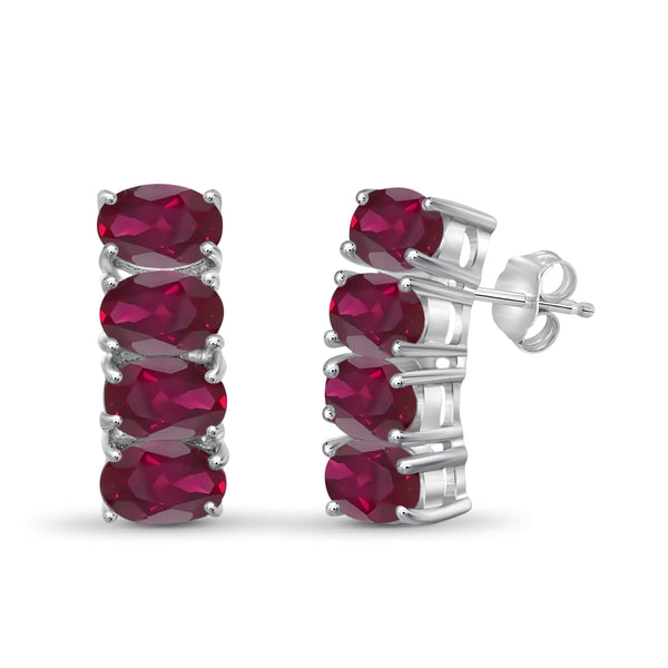 JewelonFire 3.80 Carat T.G.W. Ruby Sterling Silver Earrings - Assorted Colors