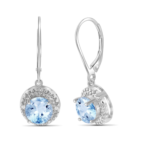 JewelersClub 3 1/5 Carat T.G.W. Sky Blue Topaz And White Diamond Accent Sterling Silver Drop Earrings - Assorted Colors