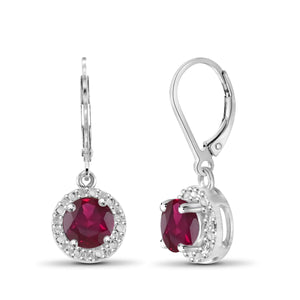 JewelonFire 1 1/3 Carat T.G.W. Ruby and White Diamond Accent Sterling Silver Halo Earrings - Assorted Colors