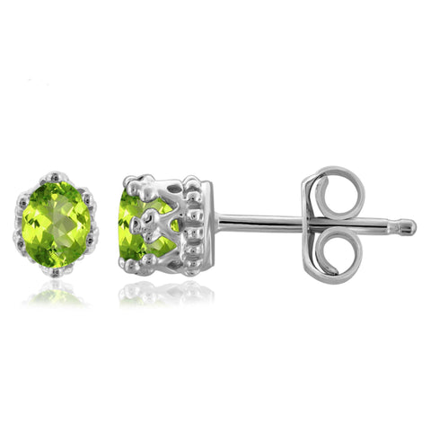 JewelonFire 1/3 Carat T.G.W. Peridot Sterling Silver Stud Earrings - Assorted Colors