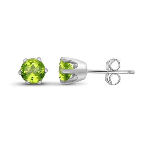 JewelonFire 1/2 Carat T.G.W. Peridot Sterling Silver Stud Earrings - Assorted Colors