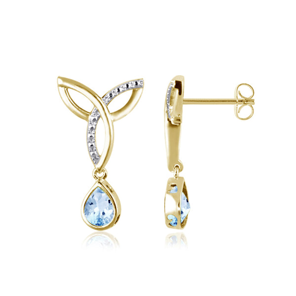 JewelonFire 1 1/2 Carat T.G.W. Sky Blue Topaz Sterling Silver Earrings - Assorted Colors