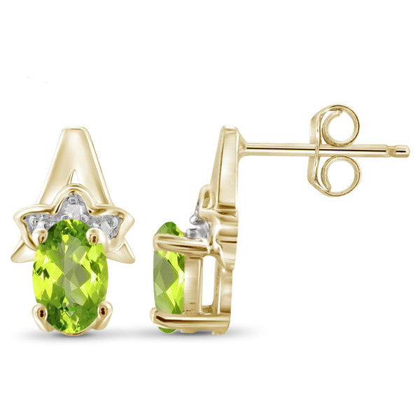 JewelersClub 1.00 Carat T.G.W. Peridot And White Diamond Accent Sterling Silver Earrings - Assorted Colors