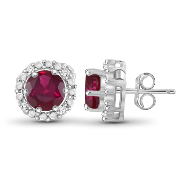 JewelonFire 2 1/2 Carat T.G.W. Ruby and White Diamond Accent Sterling Silver Halo Earrings - Assorted Colors