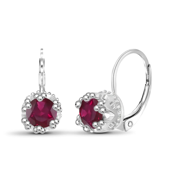 JewelonFire 1 1/3 Carat T.G.W. Ruby Sterling Silver Crown Earrings - Assorted Colors