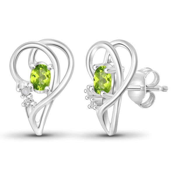 JewelersClub 1/2 Carat T.G.W. Peridot And White Diamond Accent Sterling Silver Stud Earrings - Assorted Colors