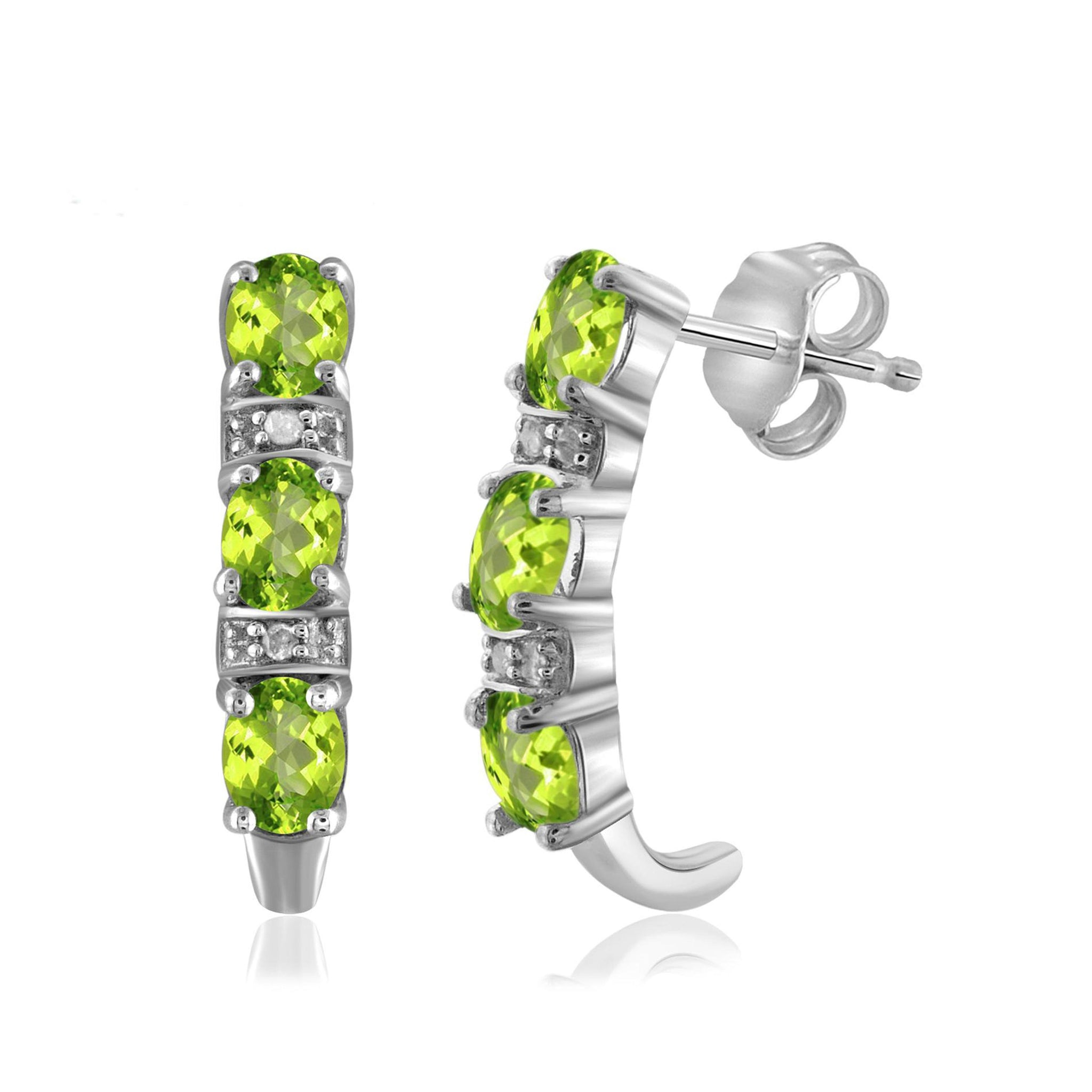 JewelonFire 1 1/5 Carat T.G.W. Peridot and White Diamond Accent Sterling Silver Dangle Earrings - Assorted Colors