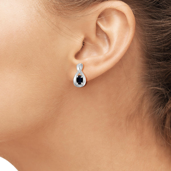 JewelonFire 0.60 Carat T.G.W. Sapphire and White Diamond Accent Sterling Silver Earrings - Assorted Colors