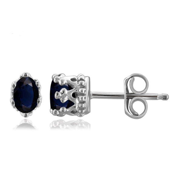 JewelonFire 0.60 Carat T.G.W. Sapphire Sterling Silver Crown Earrings - Assorted Colors