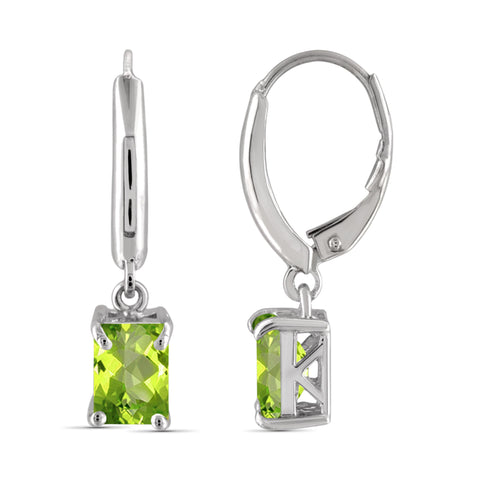 JewelonFire 2.00 Carat T.G.W. Peridot Sterling Silver Dangle Earrings - Assorted Colors